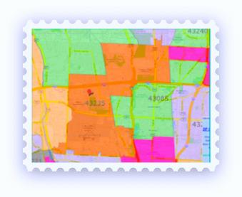 43235 stamp showing the ZIP code in orange