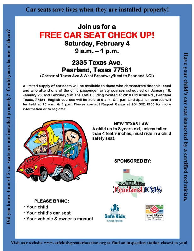 Free Car Seat Check Up In Pearland Feb 4th