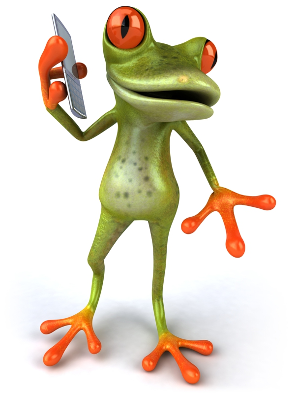 Frog answering phone