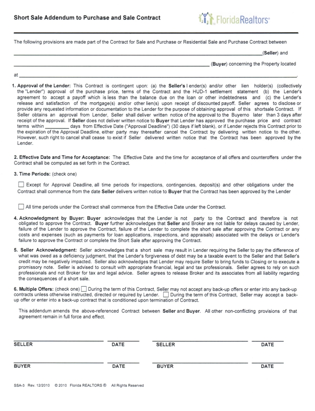 Short Sale Contract Addendum For 2010 - The Good And The Ugly