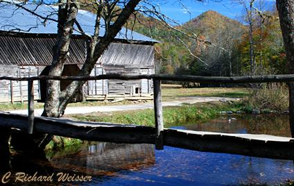 Caldwell Barn and footlog in Cataloochee by Richard Weisser