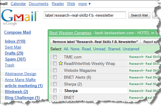 Add a label to your Gmail account to organize your blog research