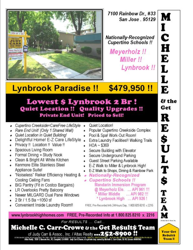 Quiet Updated Lynbrook High Home 7100 Rainbow #33 San Jose Home For Sale