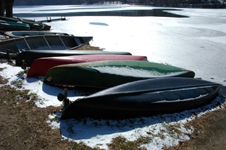 beached canoes  at Asheville