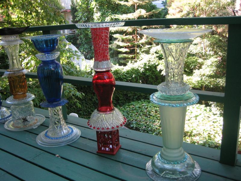 birdbaths and yard art recycled glass sclupture