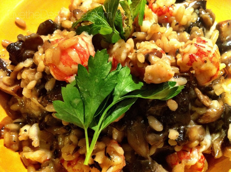 Mushroom Risotto with Langostinos