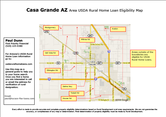 Map For Usda Rural Development Real Estate Loan In Casa