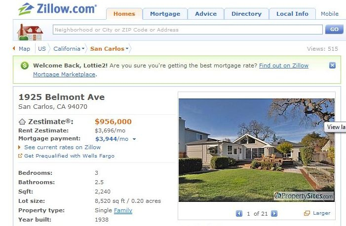 A Zillow Tale - Home Sold in San Carlos CA and Zillow's Zestimate on