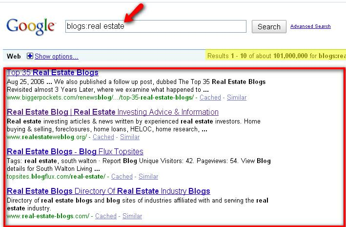 Google Search For Real Estate Blogs