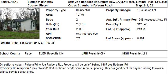 Cheapest Home in Granite Bay, CA (Sold in 2010)