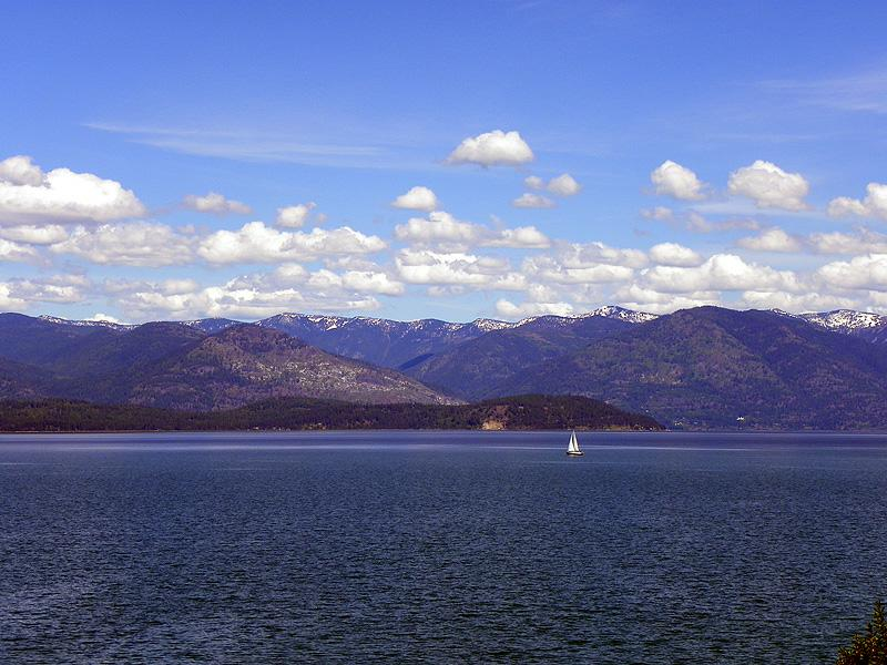 Lone sailboat on Lake Pend Oreille