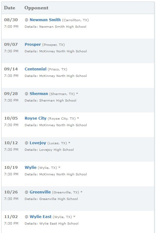 Mckinney Texas Football Schedule 2012-2013 Homes For Sale
