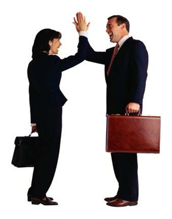 Business woman and man high five