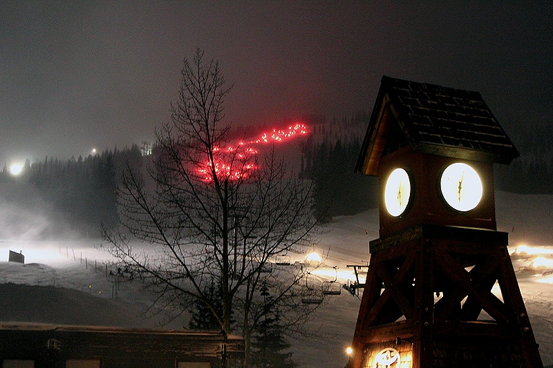 The Torchlight Parade on Schweitzer Mountain begins