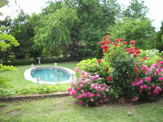 Pool and rose bushes at the historic Kennedy Mansion Bed & Breakfast
