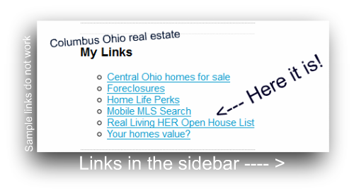 Columbus Ohio real estate Real Living HER Open House List