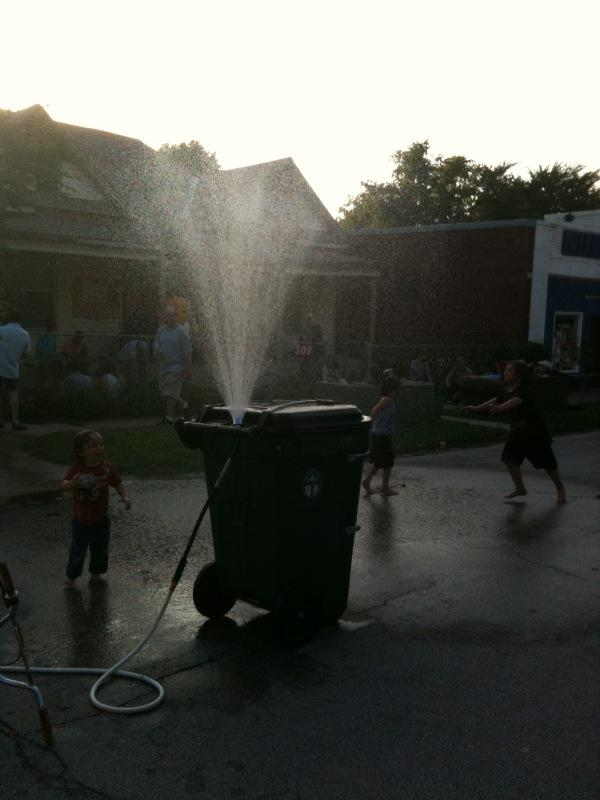 Make-shift fountain at Crosbie Heights Potluck & Block Party
