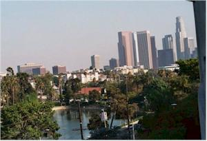 Downtown los angeles view from Echo Park cond