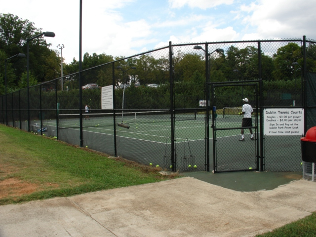 One of seven tennis courts