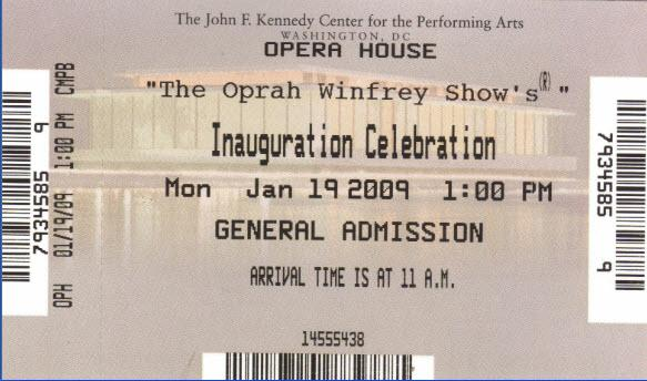 Oprah Inauguration  Show Ticket