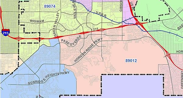 Map of Henderson ZIP Code 89012