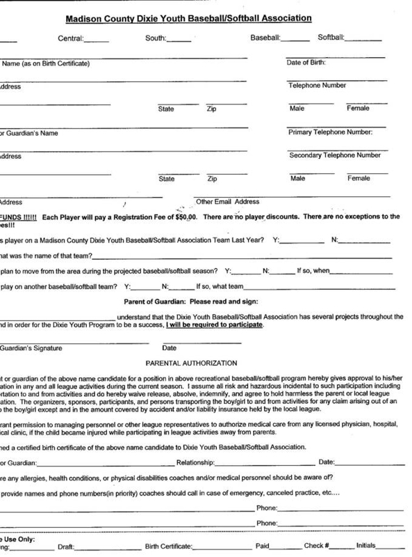 Dixie Youth Baseball Registration for Madison County TN
