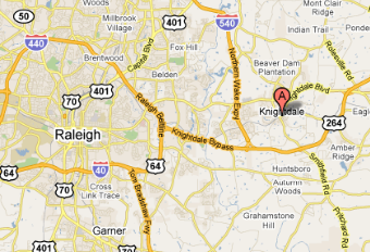 Distance from Knightdale to Raleigh, NC
