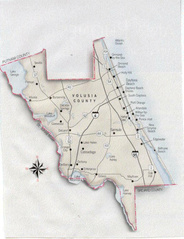 Map of Volusia County Florida