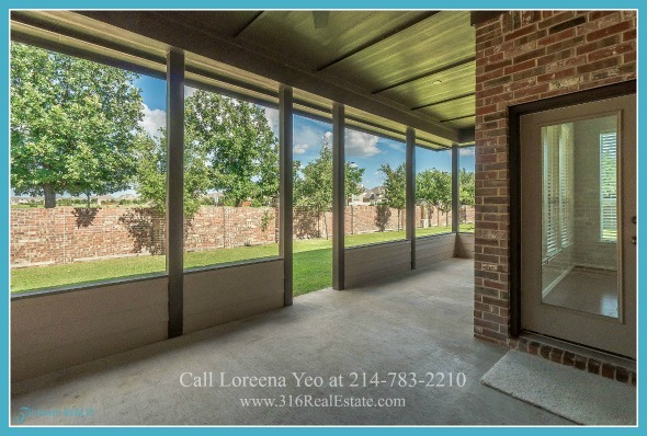 Frisco TX Homes - Want some quiet moments of peace? Step into the covered patio of this Frisco TX home for sale and relish the time for thinking and reflecting.