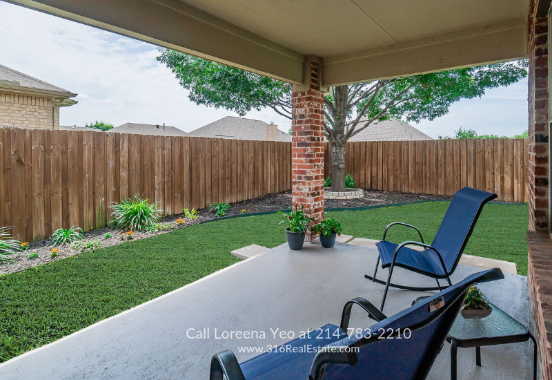 Homes in Little Elm TX - Relaxation and entertaining comes easy on the covered patio of this home for sale in Little Elm TX.