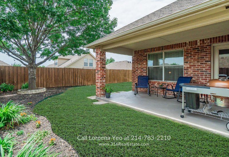 Real Estate Properties for Sale in Little Elm TX - Experience serenity in the landscaped and fully fenced backyard of this Little Elm TX home for sale.