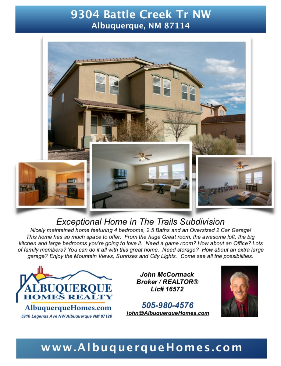 9304 Battle Creek Trail NW Albuquerque NM 87114 Listed For Sale. Albuquerque Realtor John McCormack