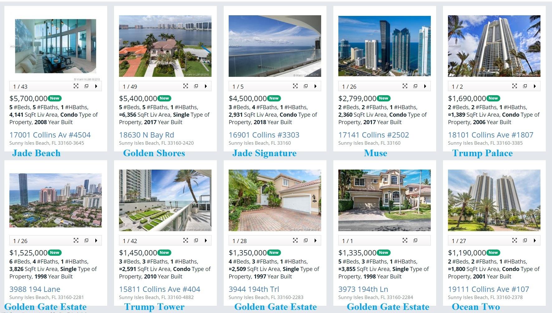 New listings Sunny Isles Beach June 23