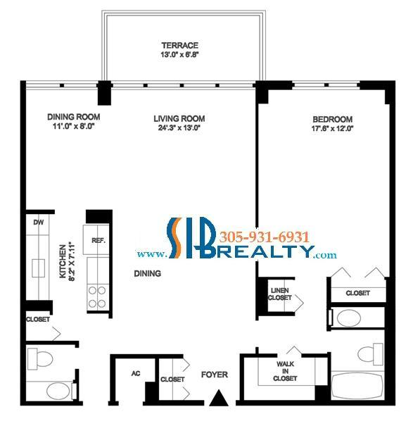 One Bedroom Condo Floor Plan Winston Towers Sunny Isles Beach