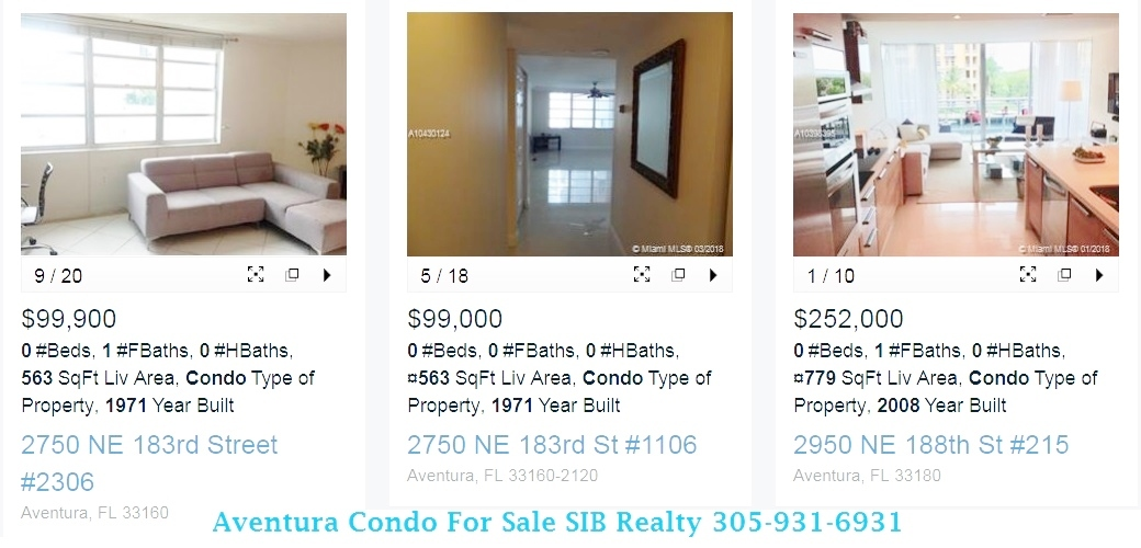Studio Condos Sold  in Aventura in 2018 View our website SIB Realty or Call for details Evelina Tsigelnitskaya