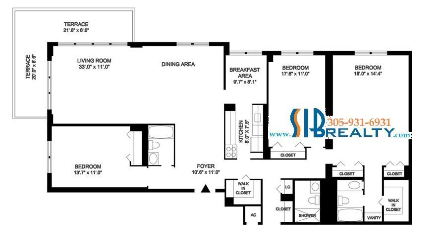 2400 sq ft Floor Plan 3 Bedroom condo Winston Towers Sunny Isles Beach