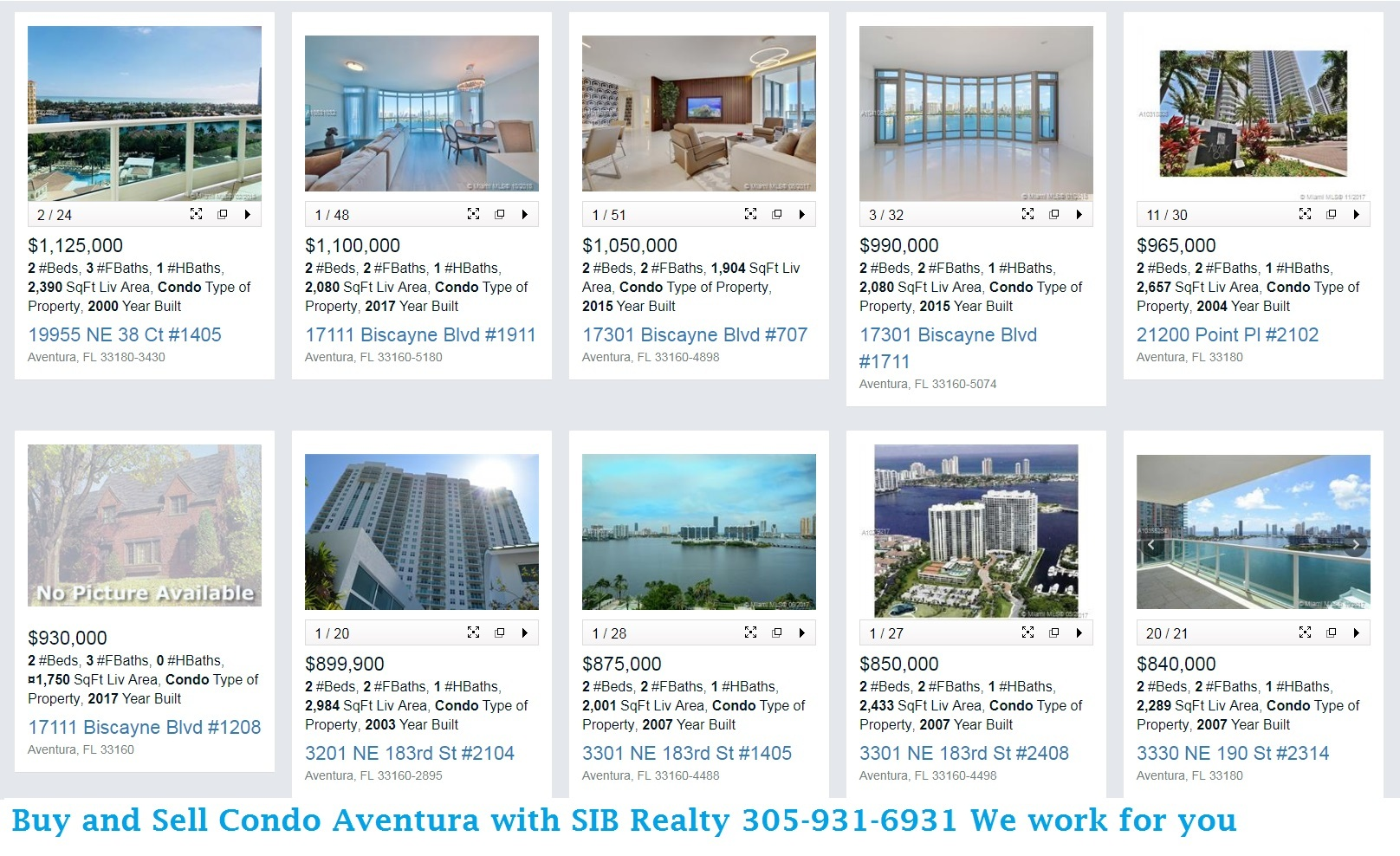 Two Bedroom Condos Sold  in Aventura in 2018 View our website SIB Realty or Call for details Evelina Tsigelnitskaya