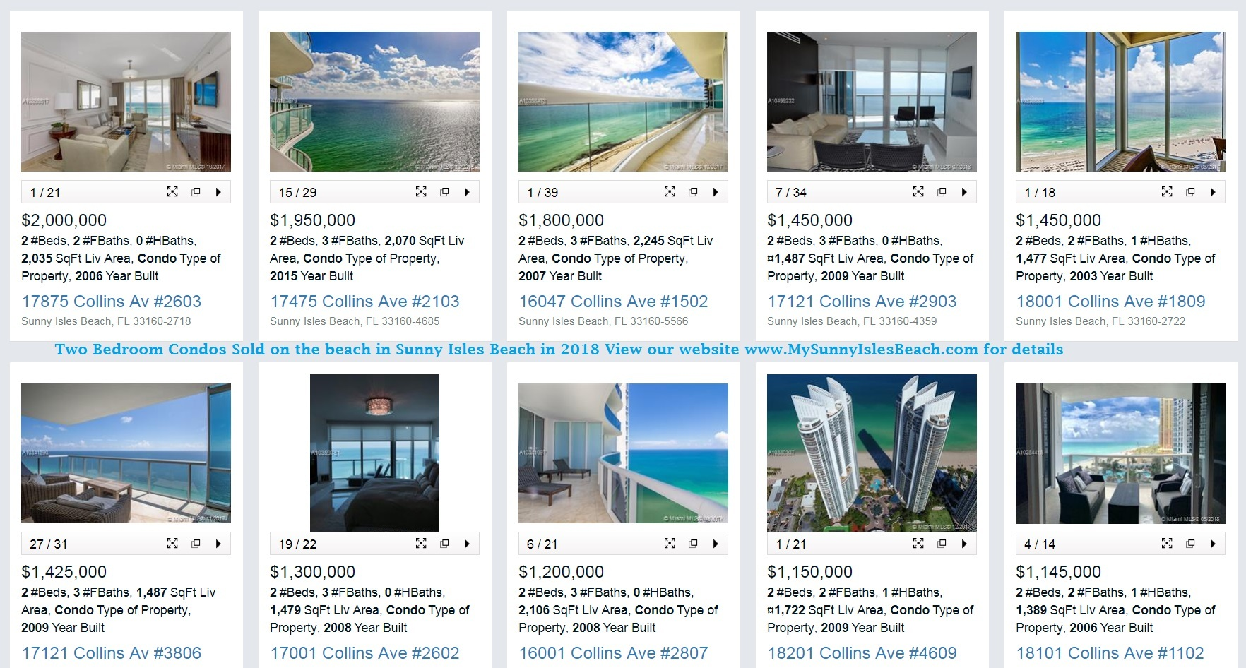 Two Bedroom Condos Sold on the beach in Sunny Isles Beach in 2018 View our website for details Evelina Tsigelnitskaya SIB Realty