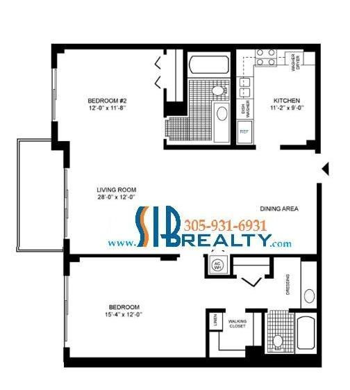 Two Bedroom Floor Plan Winston Towers Sunny Isles Beach 1232 sq ft