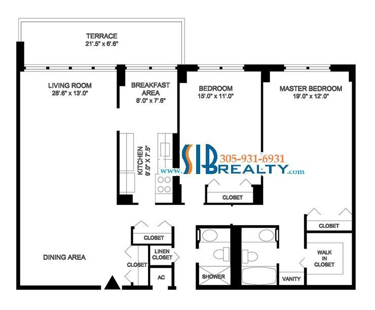 Two Bedroom Floor Plan Winston Towers Sunny Isles Beach 1488 sq ft