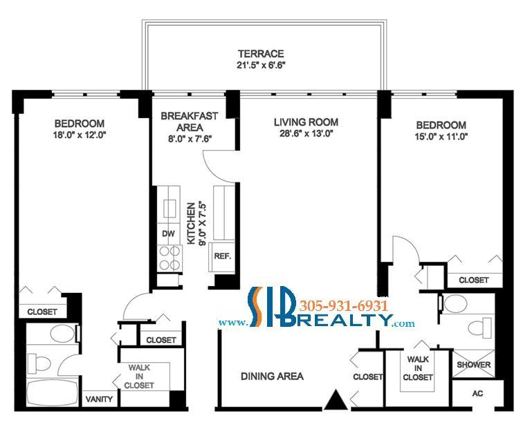 Two Bedroom Floor Plan Winston Towers Sunny Isles Beach 1507 sq ft