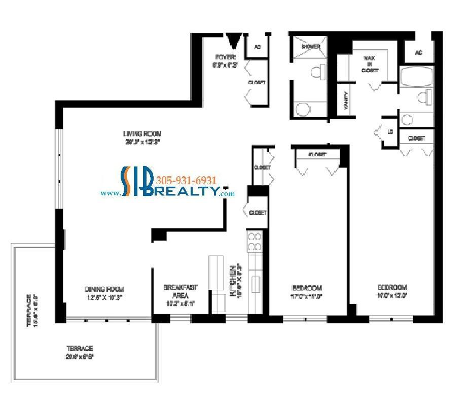 Two Bedroom Floor Plan Winston Towers Sunny Isles Beach 1860 sq ft