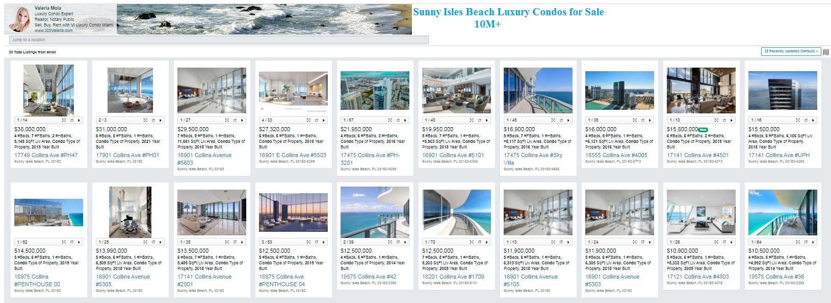 Sunny Isles Beach Luxury Condos for Sale 10 m and over