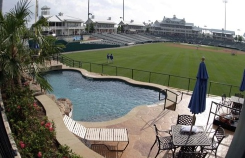 baseball stadium in frisco with a pool