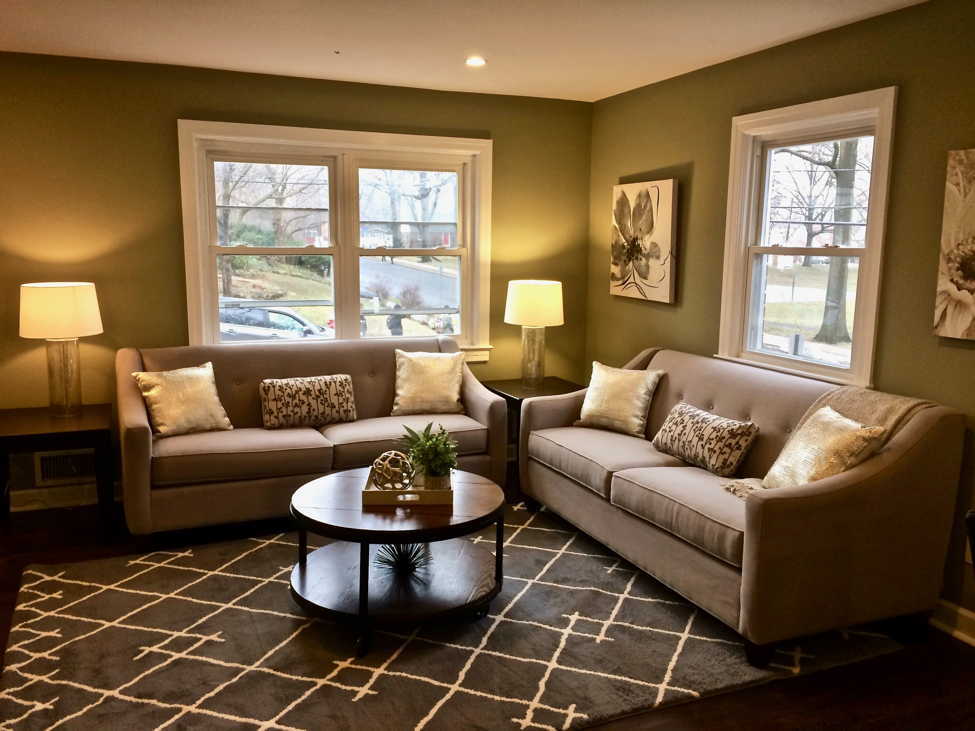 open concept living/dining area staging NJ