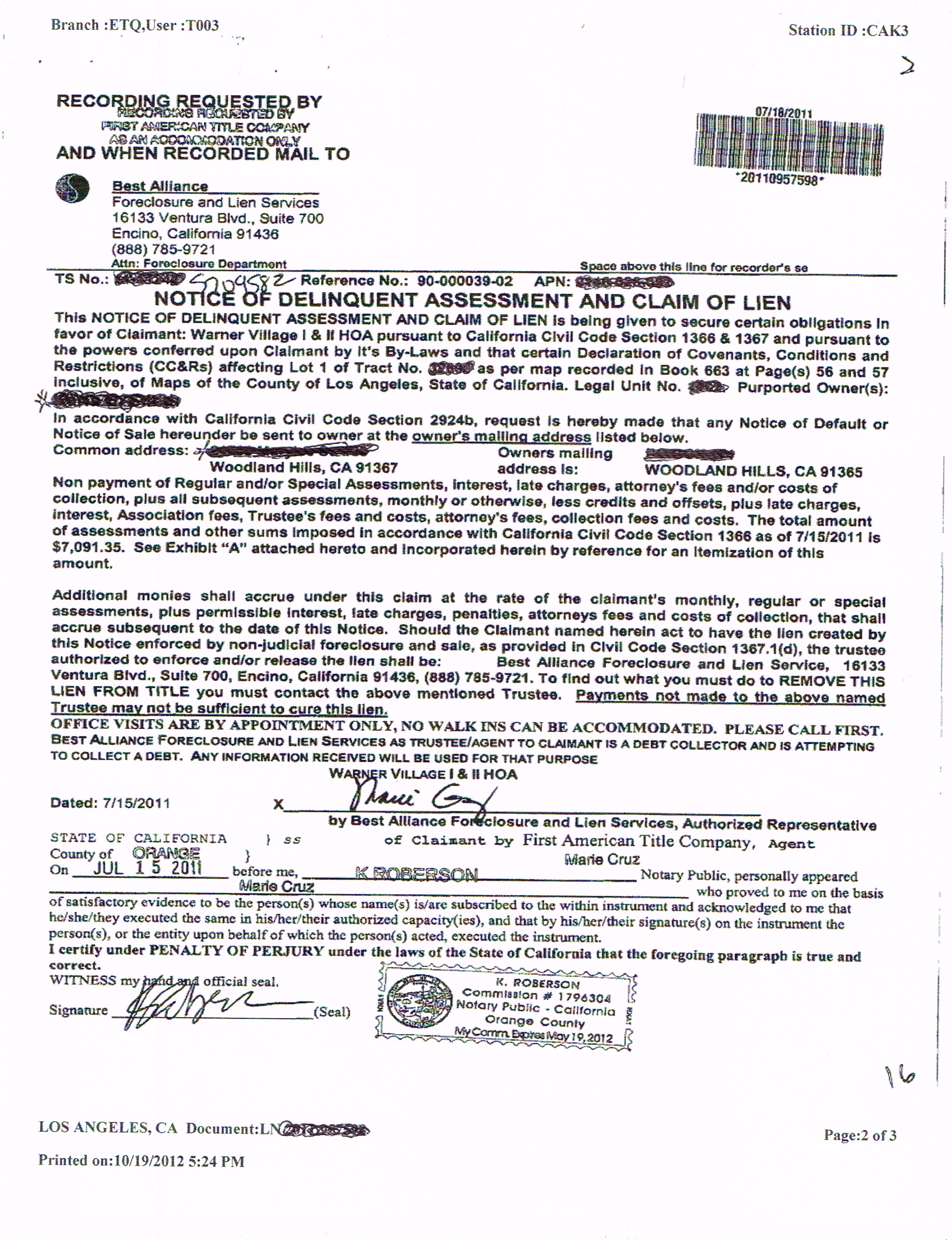 Past Due HOA Lien on Condo or Home ? Los Angeles Foreclosure
