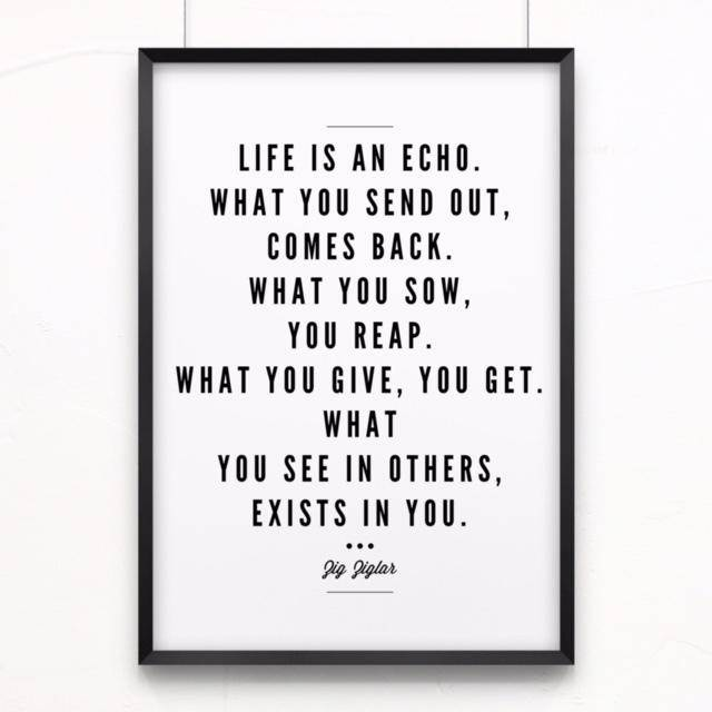 Life Is An Echo. What You Send Out, Comes Back. What You Sow, You Reap