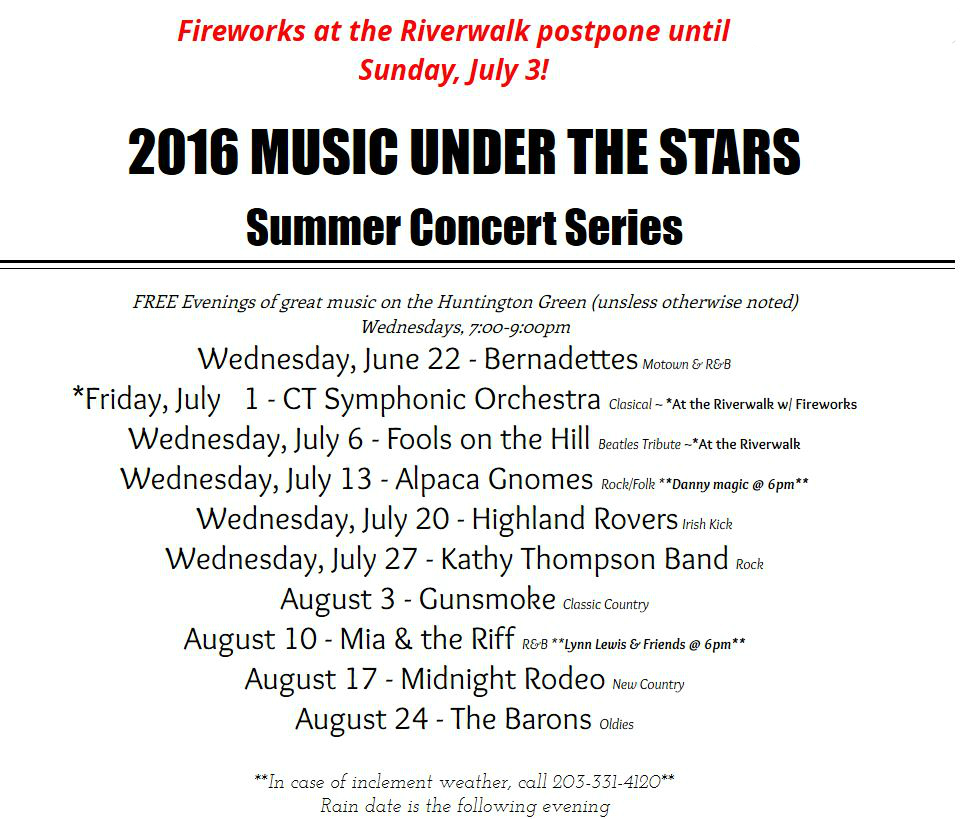 Summer concerts in Shelton CT on the Huntington Green 2016