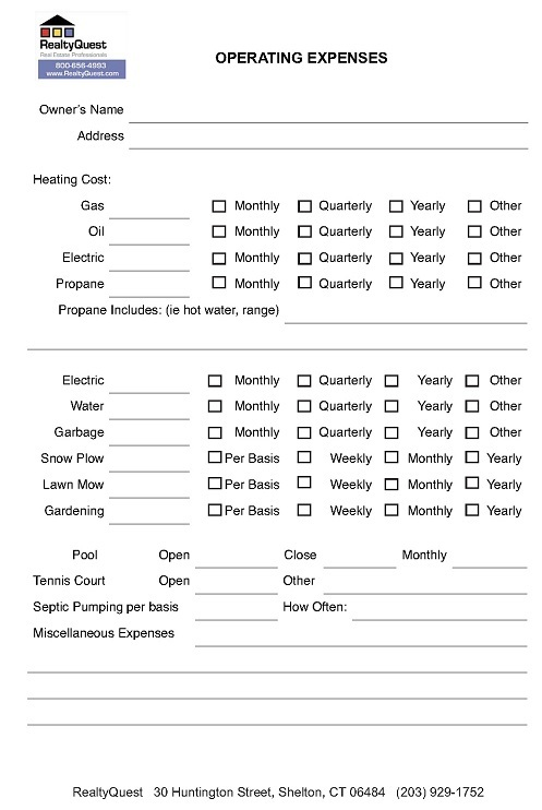 Seller Utility Costs Sheet
