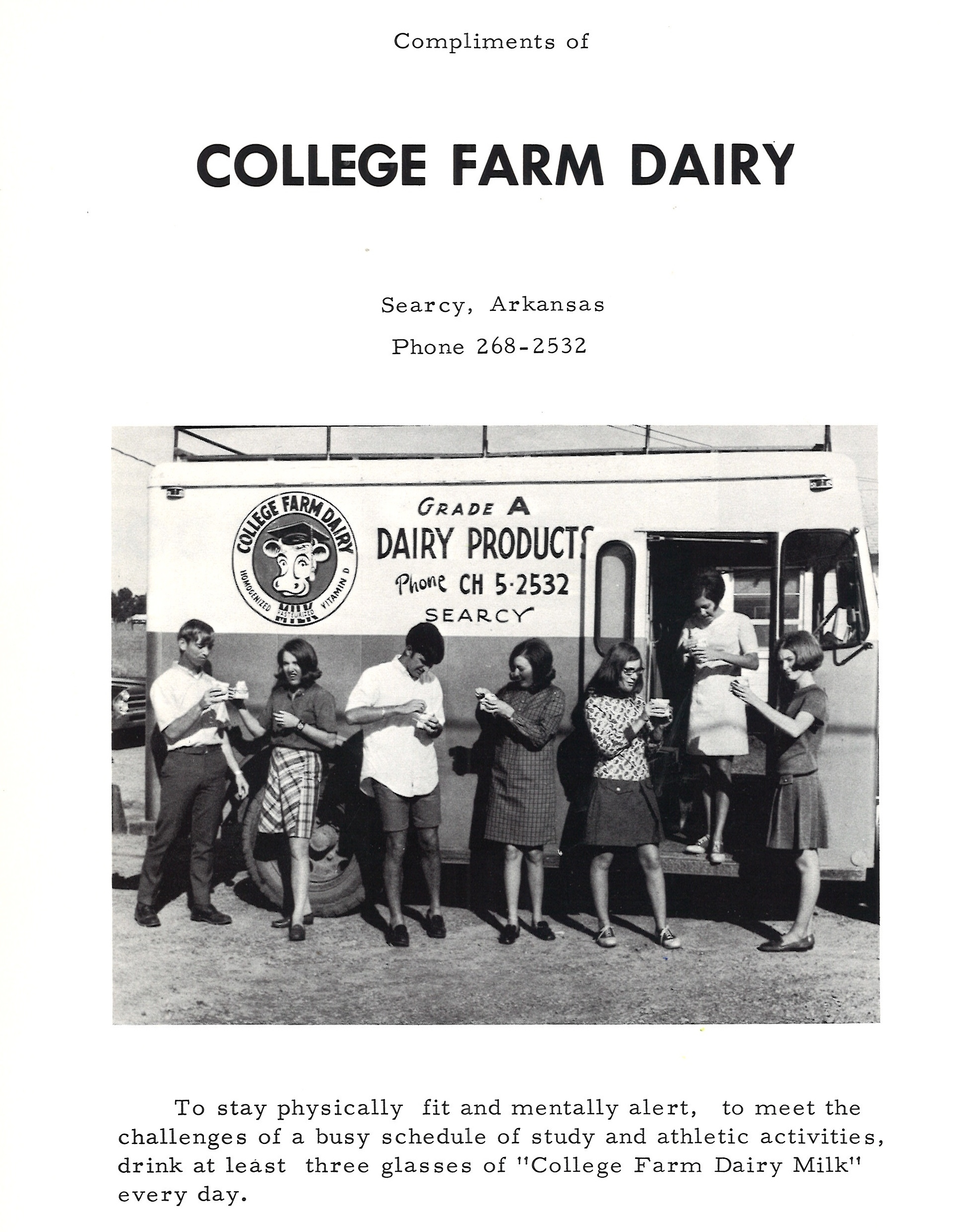 College Farm Dairy Searcy AR 1969 students